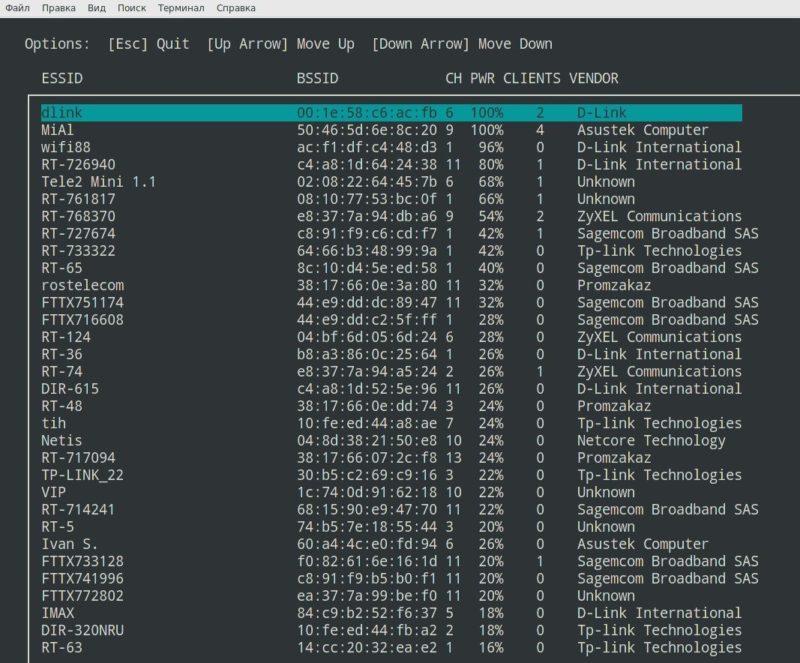 Список вайфай сетей после сканирования доступных для фишинга