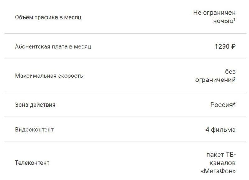 Тарифный план XL от оператора Мегафон